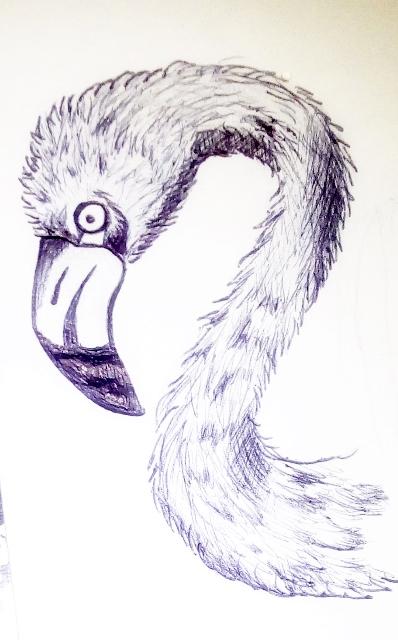 flamingo sketch pen